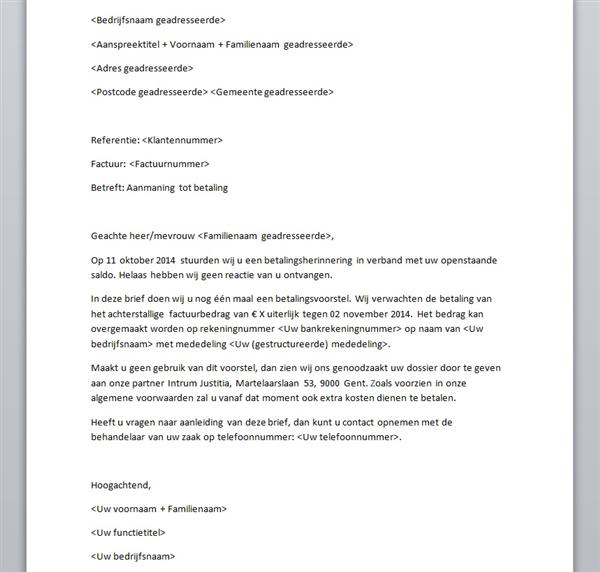 Aanmaningen: Voorbeeld aanmaningsbrief